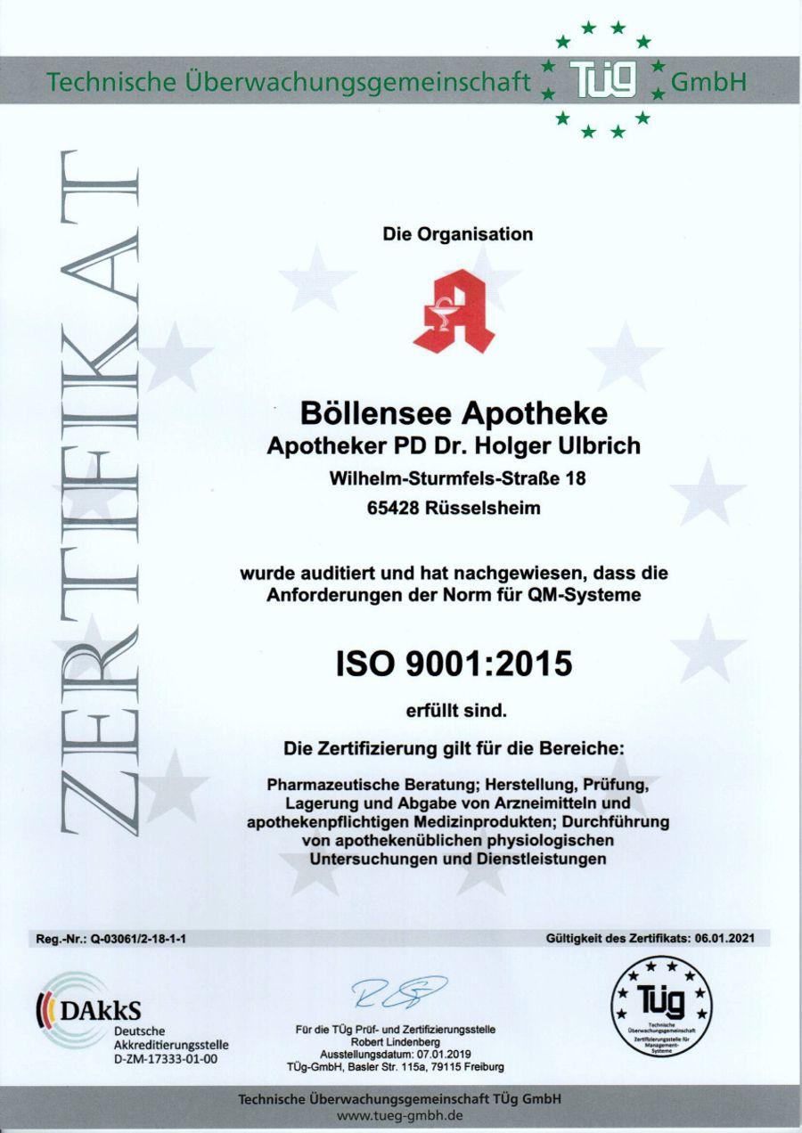 Zertifikat Böllensee